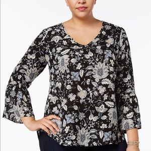 NY Collection Plus Size Printed Lantern-Sleeve Top